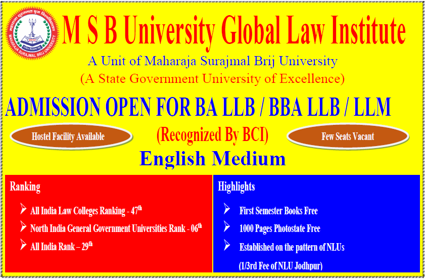 Best University in Rajasthan, India- MSBrij University, Bharatpur